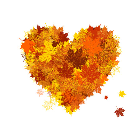 Autumn love, heart shape, leaf Stock Vector - 5573813
