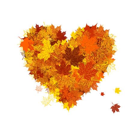 red leaves: Autumn love, heart shape, leaf