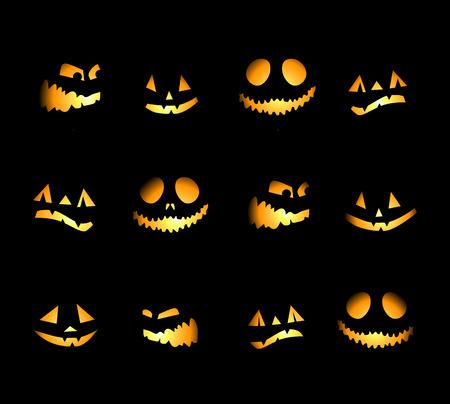 scary night: Halloween night background, pumpkins Illustration