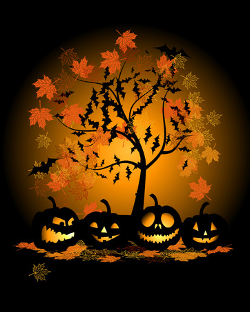 Halloween pumpkins illustration Vector
