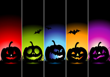 treat: Halloween banners for your design Illustration