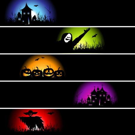 citrouille halloween: Halloween banni�res pour votre design Illustration