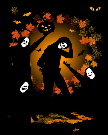 Halloween party, dancing people in costume Vector