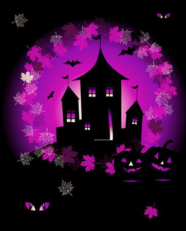 Halloween night holiday, house on hill Vector