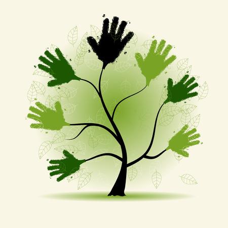 congregation: Hands tree illustration dor your design