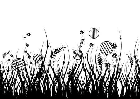 Meadow silhouette seamless for your design Vector