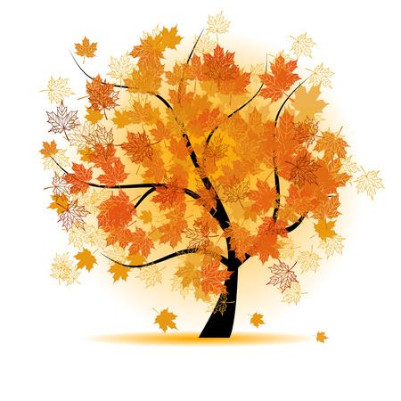 Maple tree, autumn leaf fall Vector