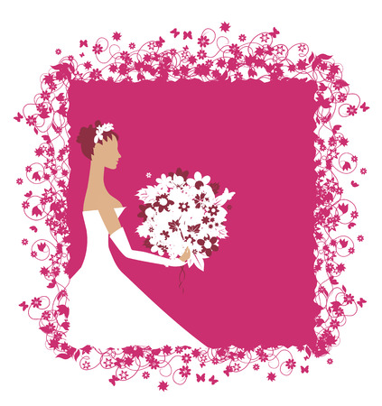 Bride beautiful with bouquet Vector