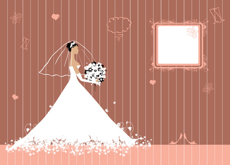Bride beautiful with bouquet Illustration