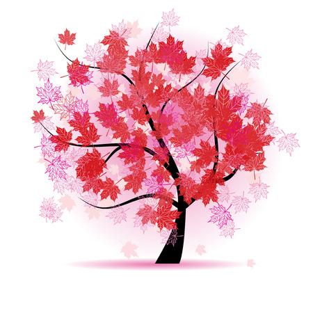Árbol de arce, caída de las hojas de otoño
