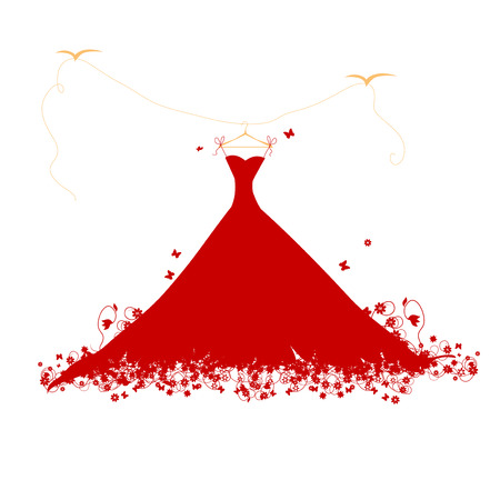 Dress red on hander, vector illustration