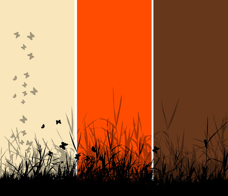 Grass silhouette background Vector