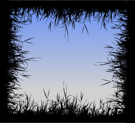 Grass silhouette frame Vector