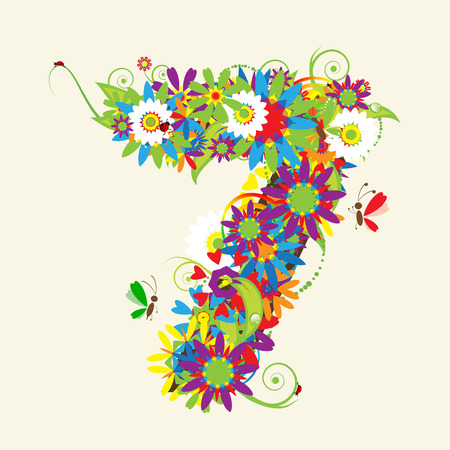 Numbers, floral design. See also numbers in my gallery Vector