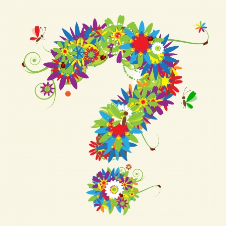 question mark background: Question mark. Floral design. See also signs in my gallery Illustration
