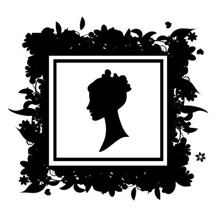 Woman portrait silhouette, floral frame Vector