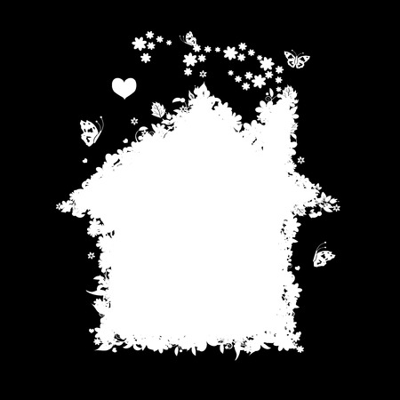 Floral house silhouette