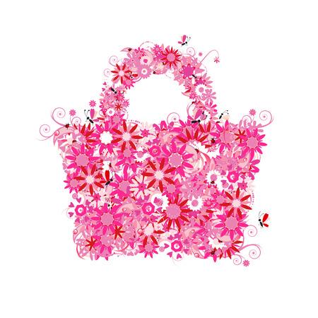 retail shop: Bolsa de la compra Floral, verano. V�ase tambi�n im�genes de estilo floral en mi galer�a Vectores