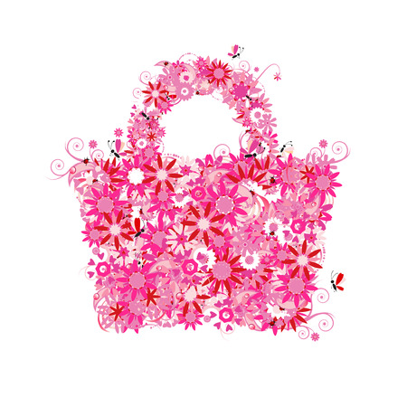beauty shop: Floral shopping bag, summer. See also floral style images in my gallery Illustration