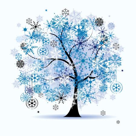 Arbre d'hiver, flocons de neige. Vacances de Noël.