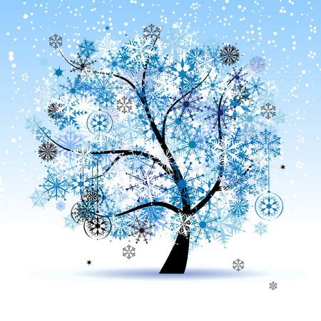 Winter tree, snowflakes. Christmas holiday. Vector