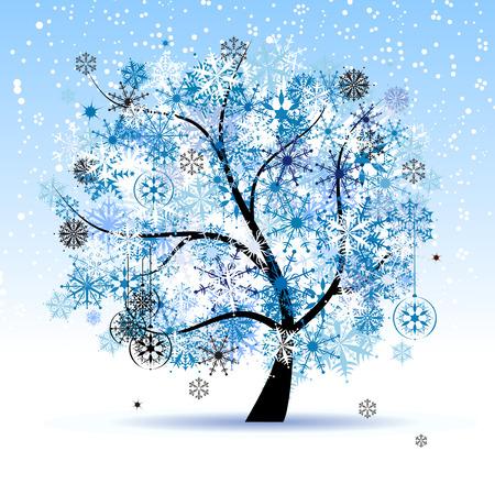 flake: Winter tree, snowflakes. Christmas holiday.
