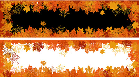 Autumn frame: maple leaf. Place for your text here. Vector