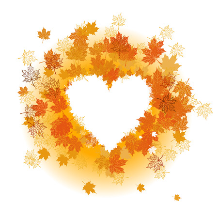 your text here: Autumn leaf: heart shape. Place for your text here.
