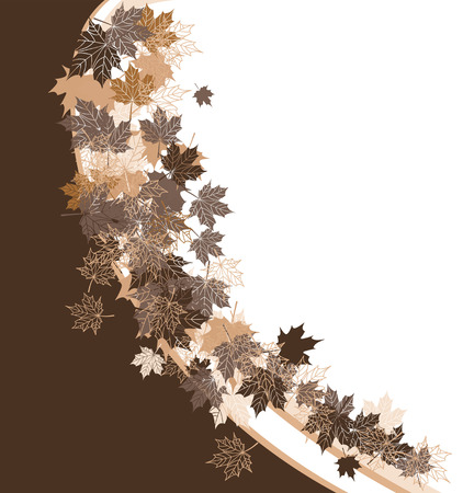 your text here: Autumn frame: maple leaf. Place for your text here. Illustration