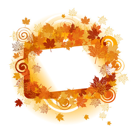 autumn leaf frame: Autumn frame: maple leaf. Place for your text here. Illustration