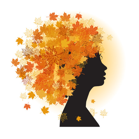 Stylized woman hairstyle. Autumn season. Vector