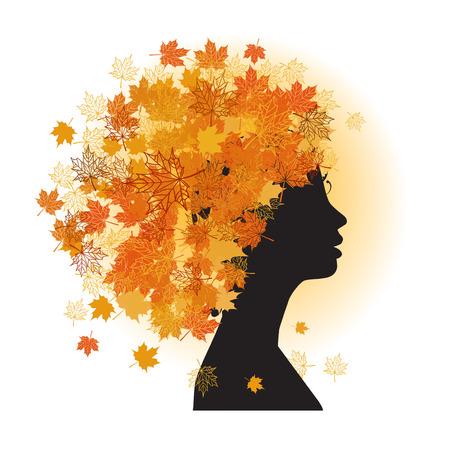 Stylized woman hairstyle. Autumn season. Vector