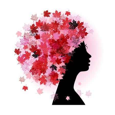 Stylized woman hairstyle. Autumn season. Stock Vector - 5707675