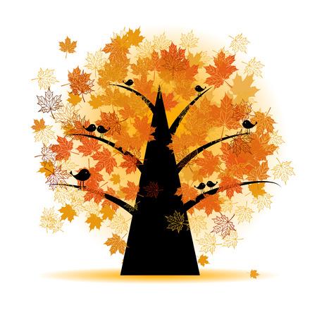 arbre automne: �rable, la chute des feuilles d'automne