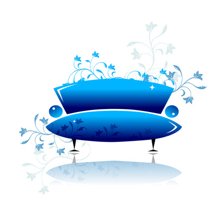Blue sofa design Vector