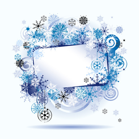Christmas frame, snowflakes. Place for your text here. Vector