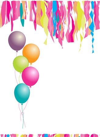 in insert: Happy birthday! Balloons and confetti. Insert your text here.