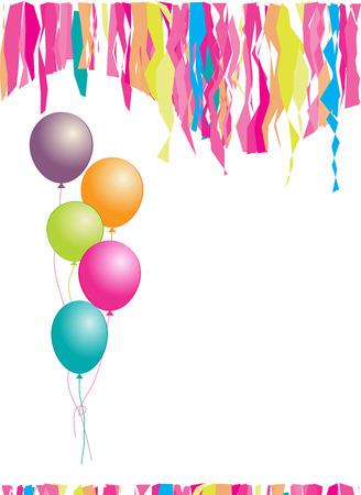 verjaardag ballonen: Hartelijk gefeliciteerd! Ballonnen en confetti. Plaats uw tekst hier.