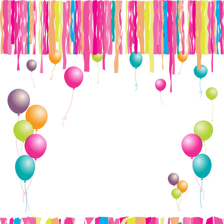 streamers: Happy birthday! Balloons and confetti. Insert your text here.