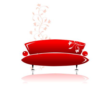 Red sofa design Vector