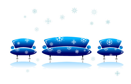 Sofa and armchair, christmas design Vector