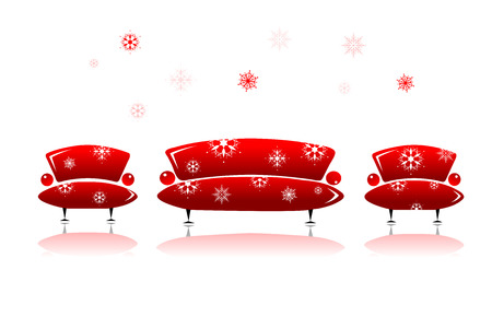 christmas room: Sofa and armchair, christmas design