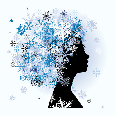 Stylized woman hairstyle. Winter season. Vector