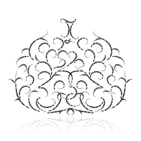 Halloween pumpkin, floral ornament. Vector illustration for your design Vector