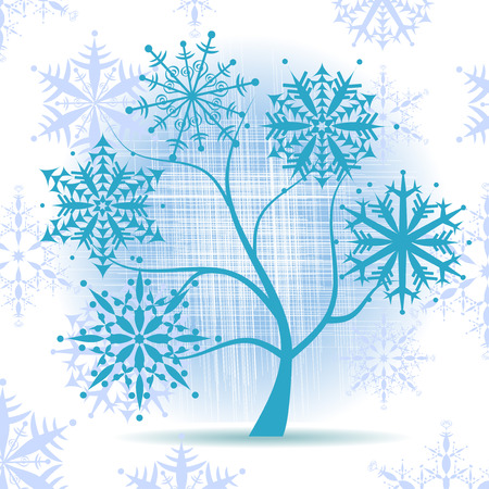 Winter tree, snowflakes. Christmas holiday. Stock Vector - 5918704