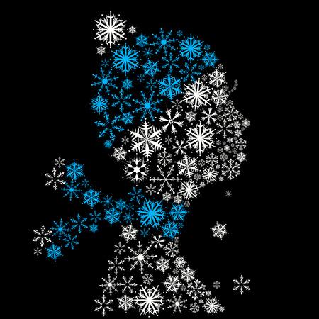 winter fashion: Stylized woman head, snowflakes. Winter season.
