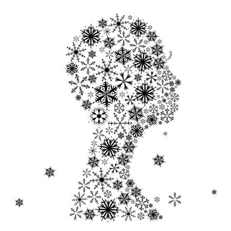 Stylized woman head, snowflakes. Winter season. Vector