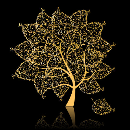 Golden tree Vector