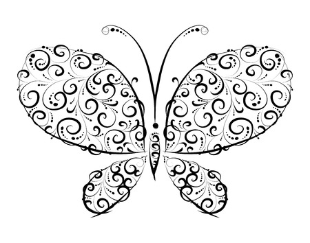 Butterfly silhouette ornament  for you design Stock Vector - 5917187