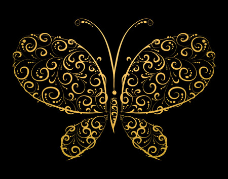 ornament  jewellery: Butterfly silhouette golden for you design